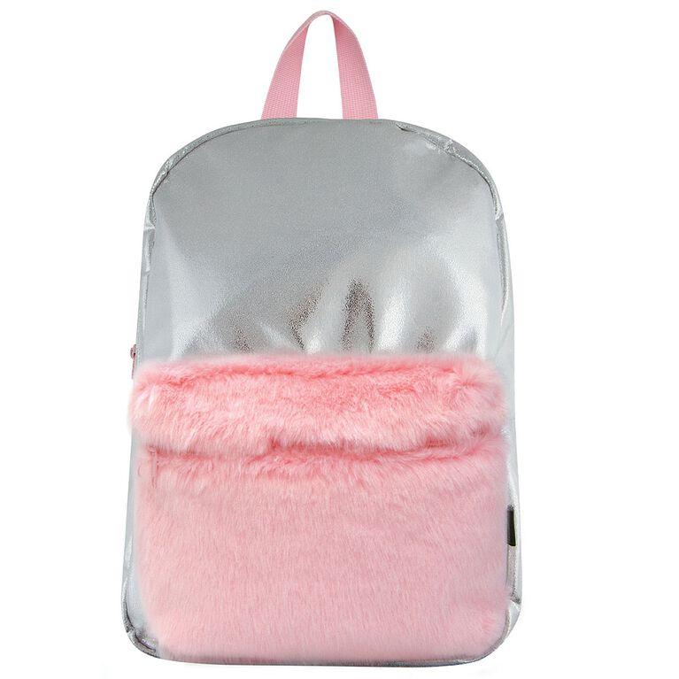 S. Lab Silver Shimmer Backpack w/Faux Fur Pocket