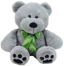 "Animal Adventure 13"" Seated Ultra-Soft Plush Bear with a Green Ribbon"