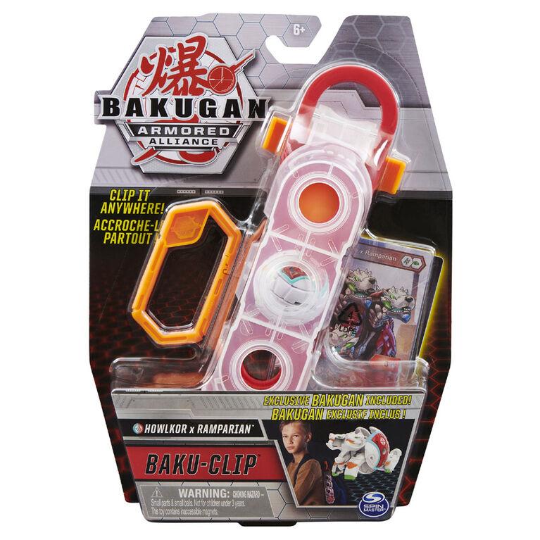 Bakugan, Accessoire de rangement Baku-Clip avec Bakugan Fusion Howlkor x Ramparian - Notre exclusivité