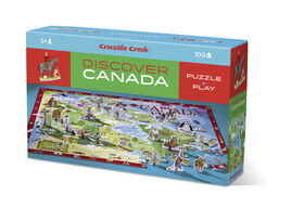 Crocodile Creek - Discover Canada Learn + Play 100 piece Jigsaw Floor Puzzle and 21 Figures, 36