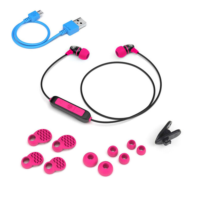 JLab Audio Metal Wireless Rugged Earbuds Black/Pink
