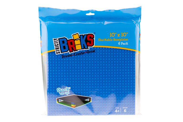"Strictly Briks - Flat Bottom Baseplates - 10"" x 10"" - 32 x 32 pegs - 6 Baseplates - Blue, Gray, Green"
