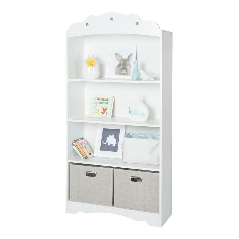 Tiara 4-Shelf Bookcase- Pure White