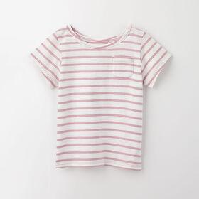 simple roll-sleeve pocket tee, 5-6y - light purple stripe