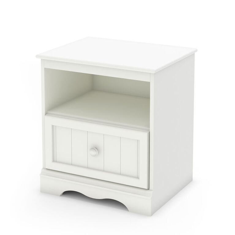 Savannah 1-Drawer Nightstand - End Table with Storage- Pure White