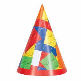 Building Blocks Party Hats, 8 Hats - English Edition