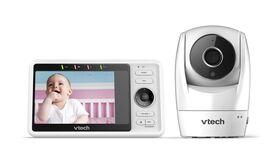 Moniteur vidéo Wi-Fi pour bébé avec caméra panoramique et inclinable HD 1080p de 5 po, blanc modèle, RM5762 de VTech.