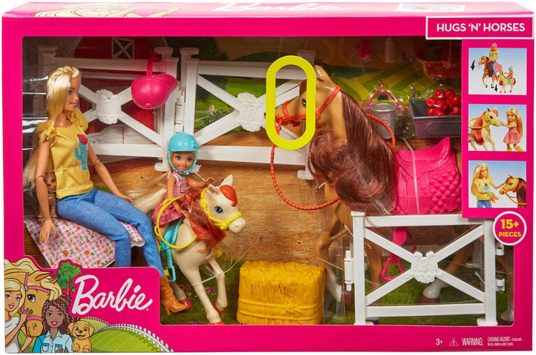 Barbie Playset with Barbie and Chelsea Dolls, 2 Horses and 15+ Accessories