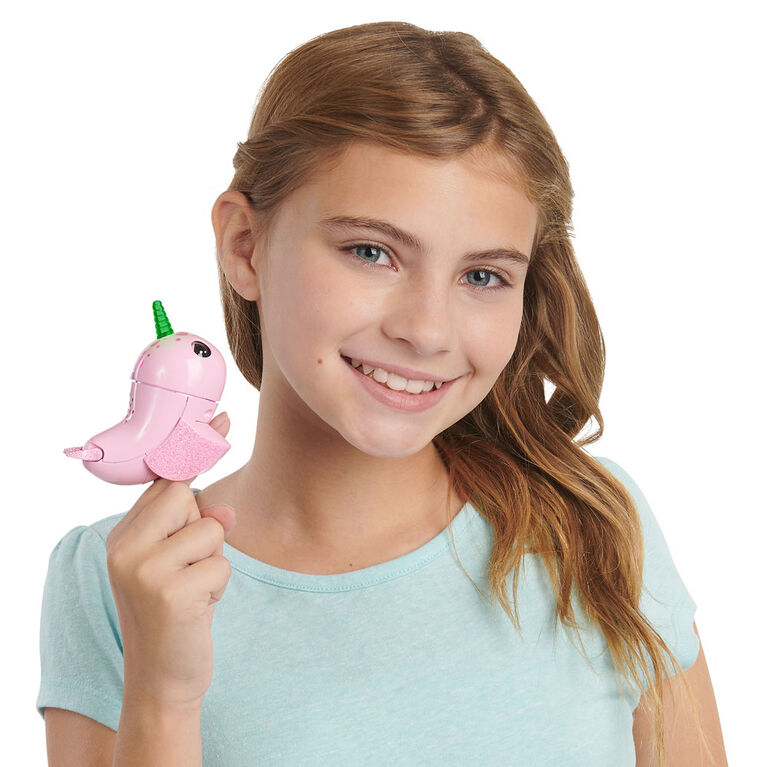 WowWee Fingerlings Light Up Narwhal - Rachel (Pink) - Friendly Interactive Toy