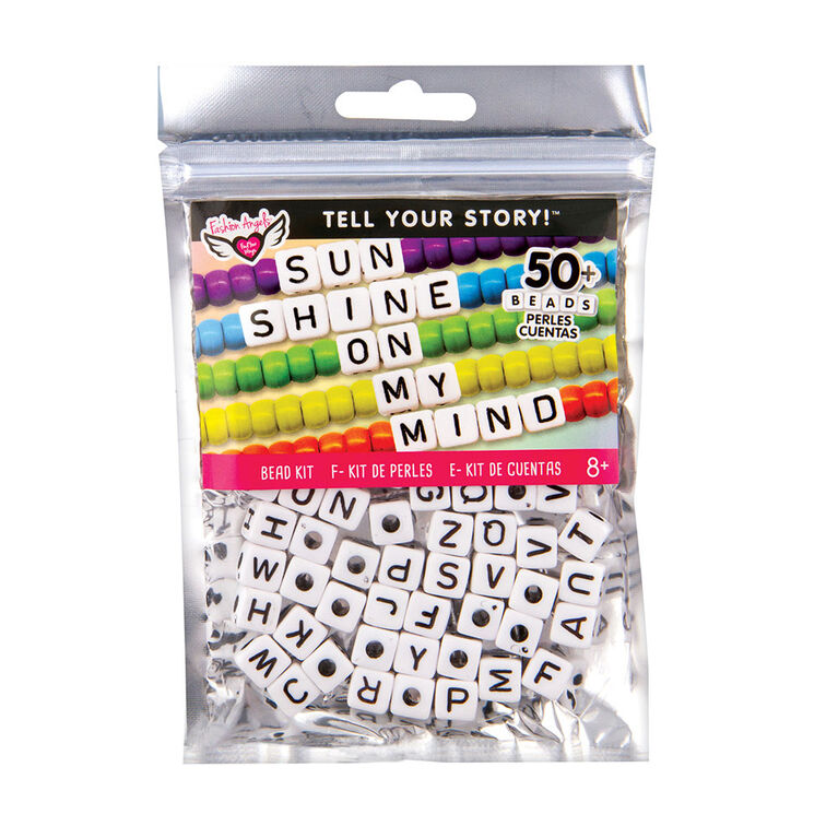 Fashion Angels - Tell Your Story Alphabet Bead Bag - LG White Cubes