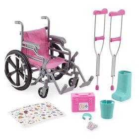 Journey Girls - Ensemble fauteuil roulant et béquilles.
