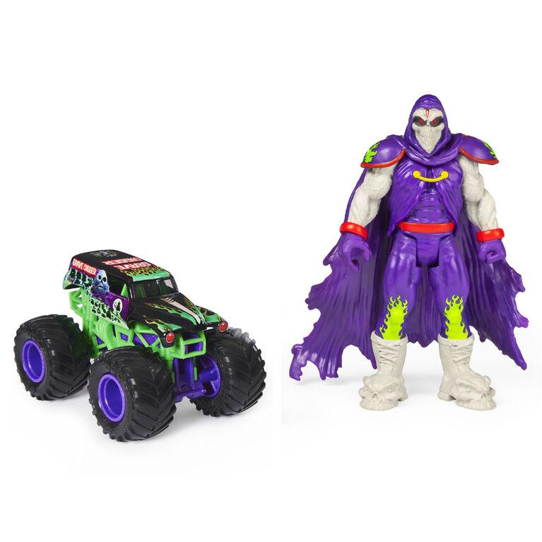 Monster Jam, Coffret Monster truck Grave Digger à l'échelle 1:64 officiel et figurine articulée Grim Creatures de 12,7 cm (violet métallique)