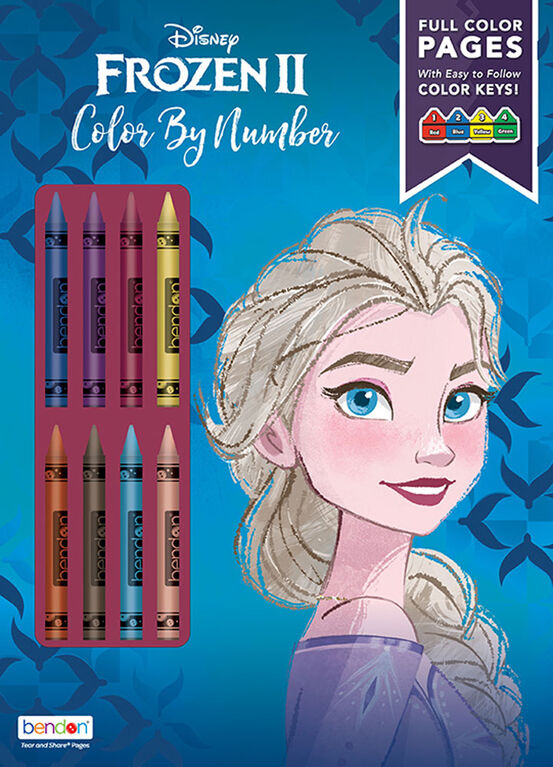 Frozen II Colour by Number with Crayons - English Edition