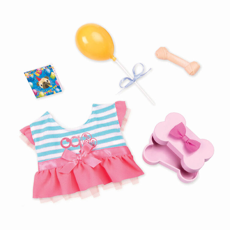 Our Generation, Furry Party Set, Plush Dog Birthday Dress Outfit with Accessories