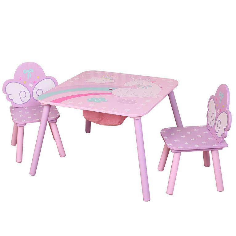 Table Carrée Licorne Avec 2 Chaises