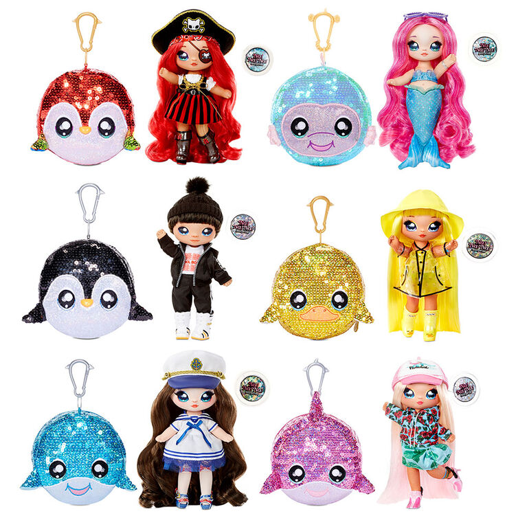 """Na! Na! Na! Surprise 2-in-1 Boy Fashion Doll and Sparkly Sequined Purse Sparkle Series - Andre Avalanche, 7.5"""" Penguin Boy Doll"""