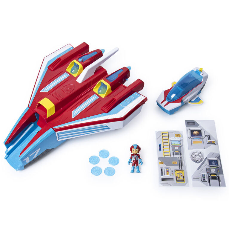 PAW Patrol, Mighty Pups Super PAWs, Mighty Jet Command Center, Jet/QG transformable 2 en 1 avec effets sonores et lumineux