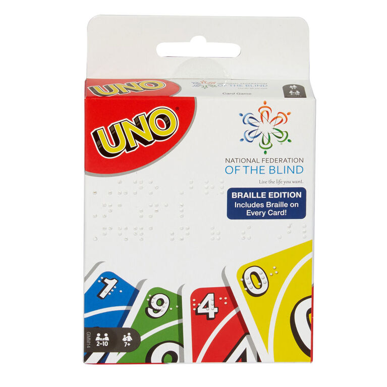 UNO Braille Family Card Game for Blind and Low Vision Players,with 112 Cards - English Edition