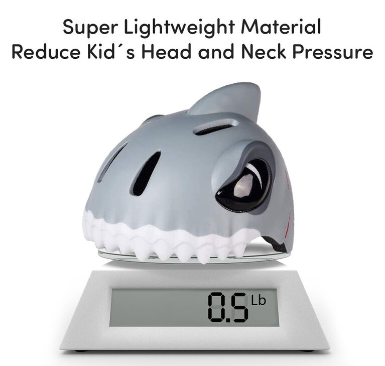 Animiles 3-D kids helmet Grey Shark one size fits ages 3-8 - English Edition