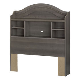 Savannah Bookcase Headboard with Storage- Gray Maple