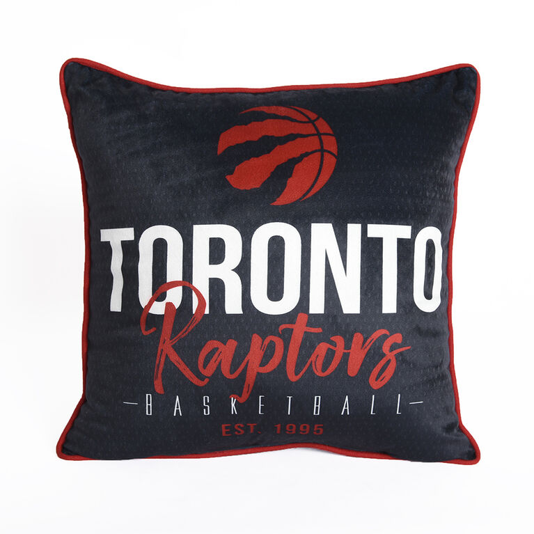 Coussin de basketball NBA Toronto Raptors (18 x 18 po), noir