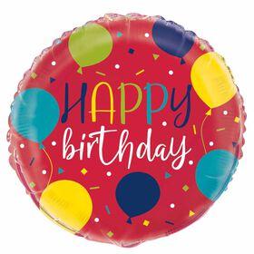 """Ballon aluminium rond, 18 """" - Balloon Party Birthday - Édition anglaise"""