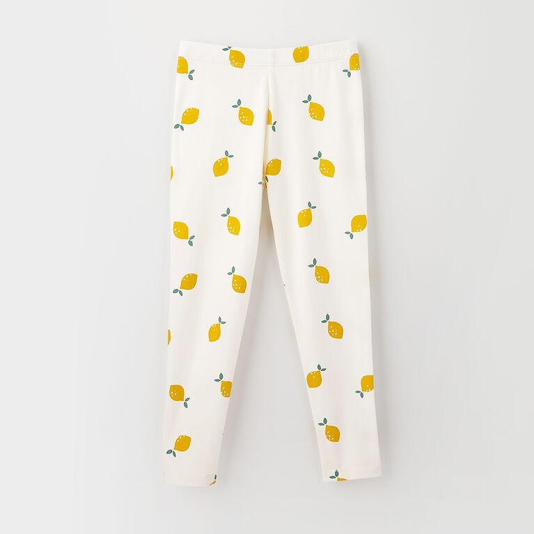 organic play legging, 2-3y - cream print