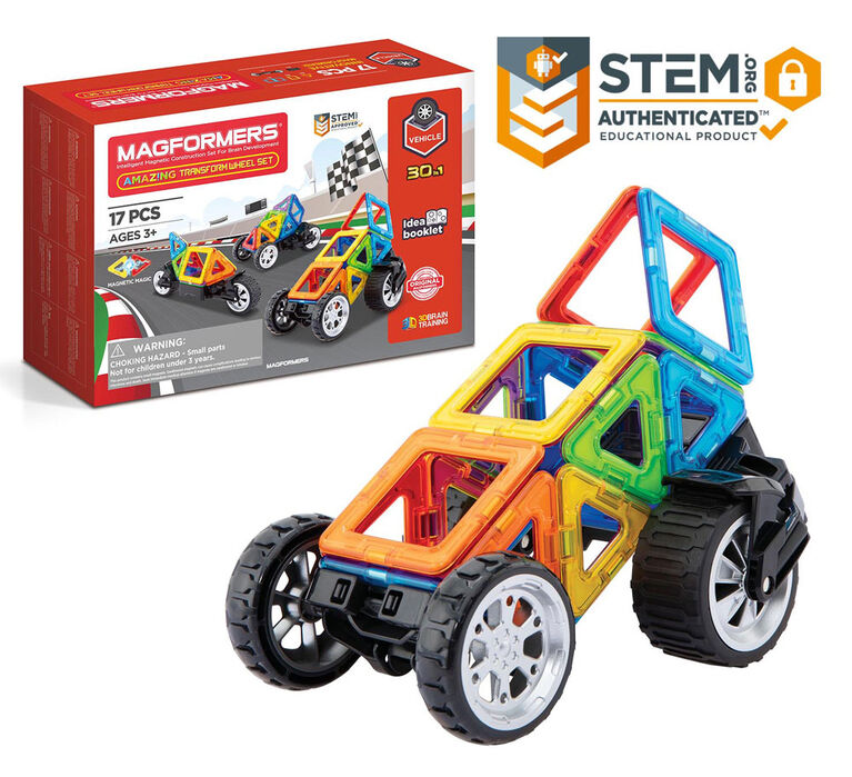 Magformers - Coffret Amazing Transform Wheel de 17 pièces