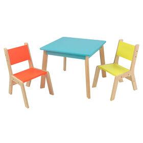 KidKraft - Ensemble table moderne + 2chaises - Couleurs vives