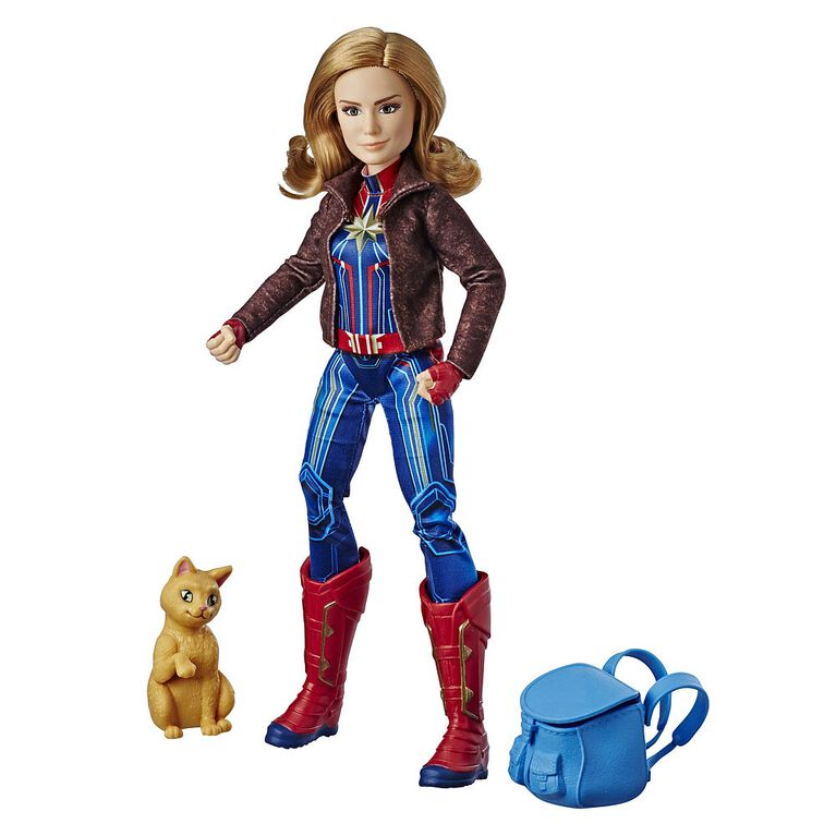 Marvel Captain Marvel - Poupée de superhéroïne Capitaine Marvel avec le chat Marvel's Goose.