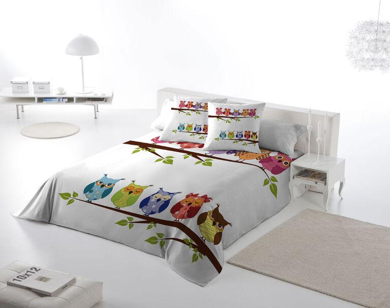 Gouchee Design - Ens Housse De Couette Impression Numérique Grand - Hiboux Sur Branche (Buhos)