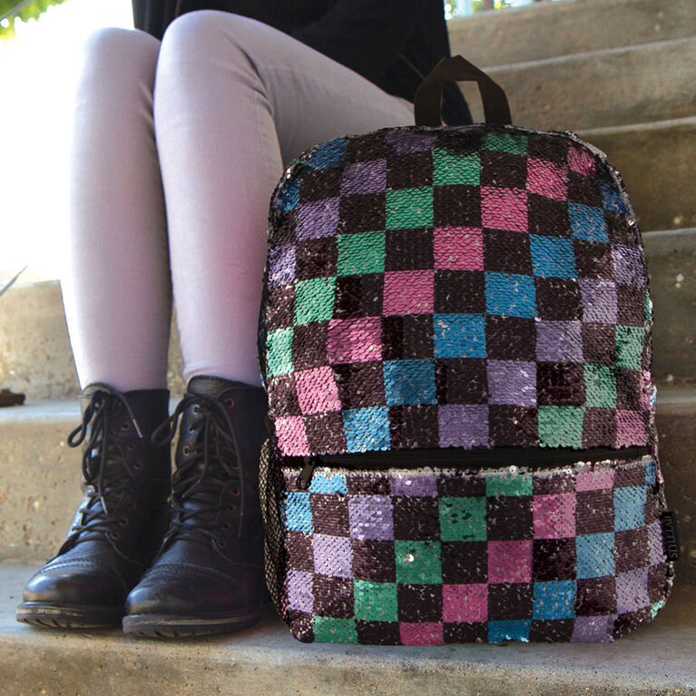 Sac à dos magique à paillettes Fashion Angels en damier