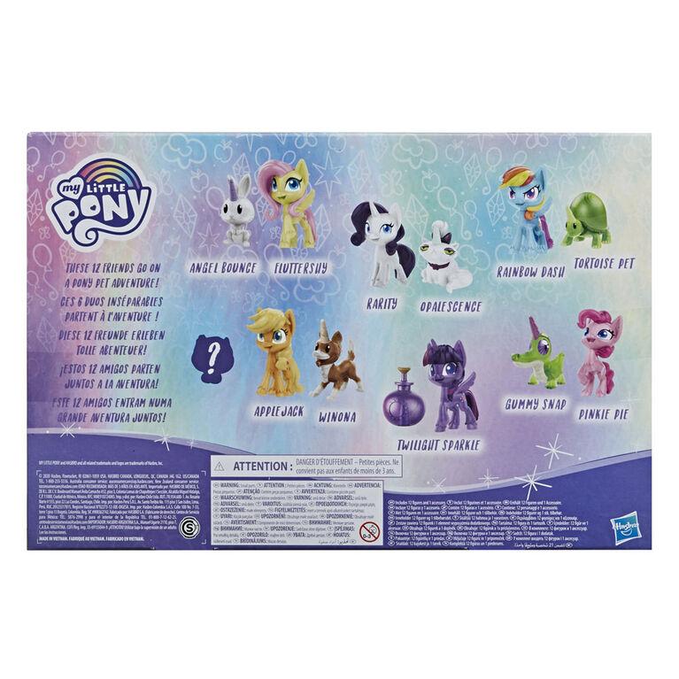 My Little Pony Collection Poneys et amis fidèles, 12 poneys et animaux, figurines de 3,5 cm incluant 1 jouet mystère - Notre exclusivité
