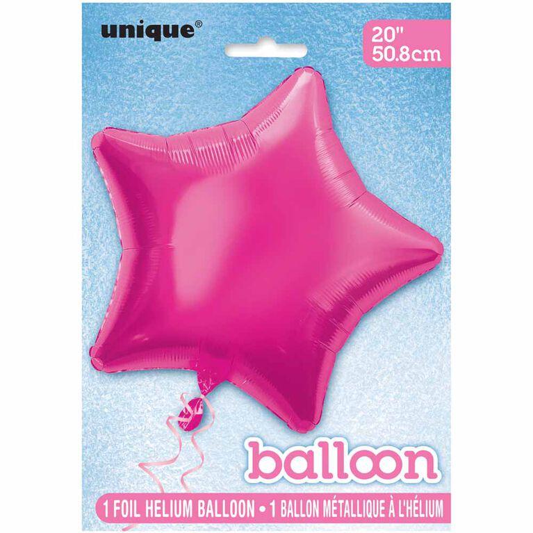 Ballon Aluminum En Forme D`Etoile 20 Po - Rose Bonbon