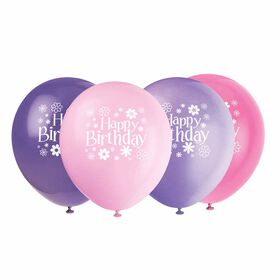 "Birthday Blossoms 12""Latex Balloon 8 pieces - English Edition"
