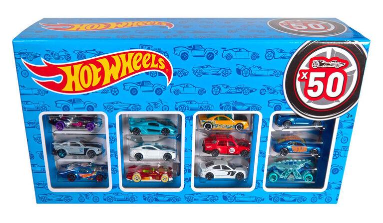 Hot Wheels - Coffret de 50 véhicules - Les styles peuvent varier