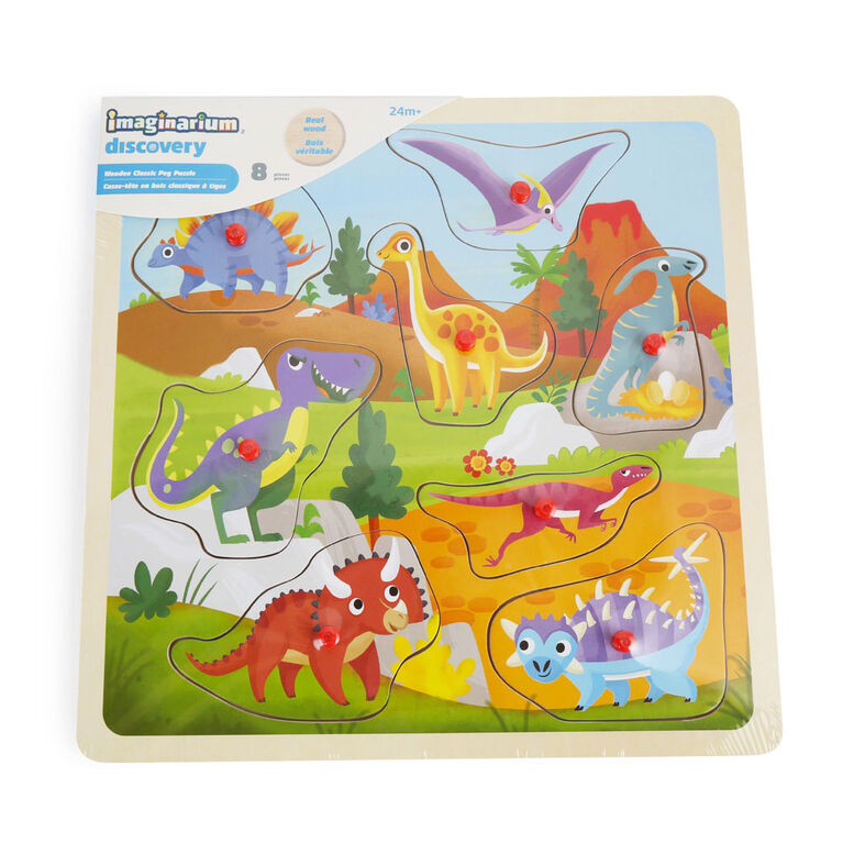 Imaginarium Discovery - Wooden Classic Peg Puzzle Assortment - Dinosaur