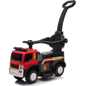 KidsVip 6V Kids and Toddlers Fire Truck Ride on Push Truck 3 in 1 w/Side Guards, Handle, Leather Seat - English Edition