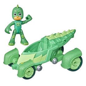 Pyjamasques, jouet préscolaire Reptilo-Mobile, voiture de Gluglu avec figurine Gluglu