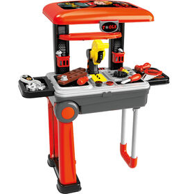Toy Chef 2-In-1 Children's Portable Tool Set Station - Red