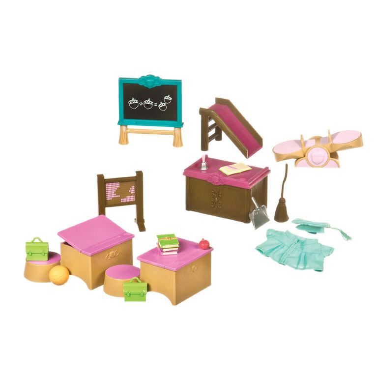 Salle De Classe Et Terrain De Jeu, Li'l Woodzeez, Ensemble de salle de classe avec meubles