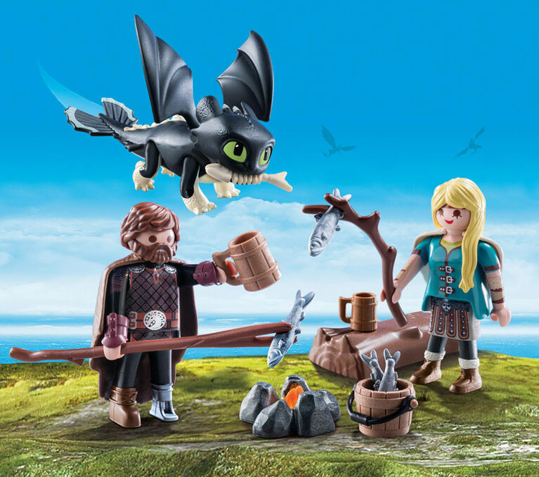 Playmobil - How To Train Your Dragon -  Harold et Astrid avec un bébé dragon