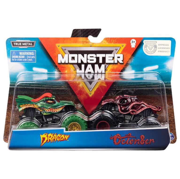 Monster Jam, Official Dragon vs. Octon8er Die-Cast Monster Trucks, 1:64 Scale, 2 Pack