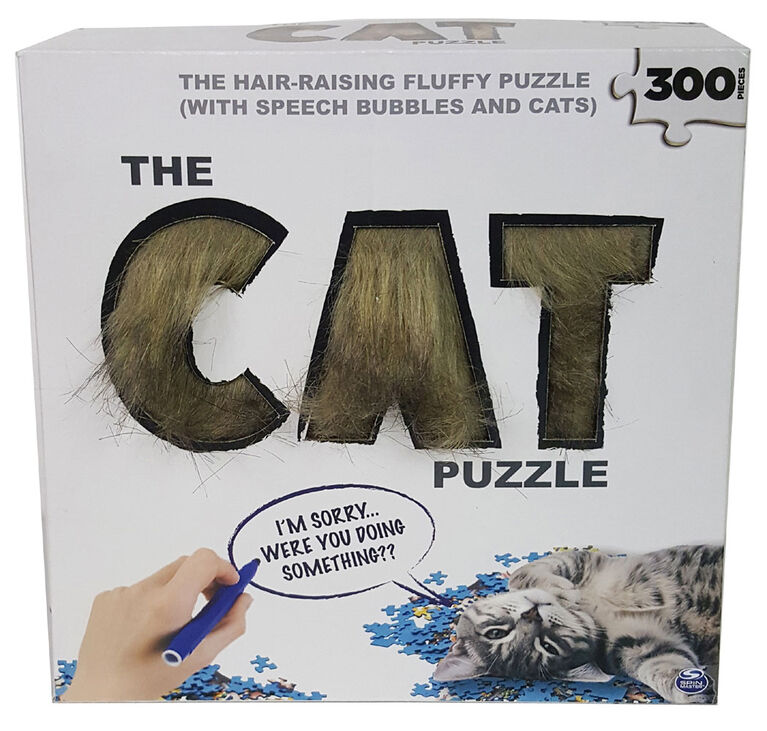 Cat Puzzle with Faux Fur and Dry-Erase Speech Bubbles 300 Piece