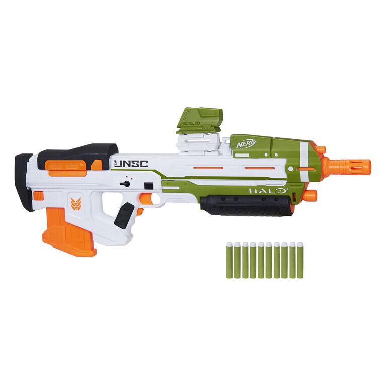 Nerf Halo, blaster à fléchettes motorisé MA40, inclut chargeur 10 fléchettes amovible, 10 fléchettes Nerf Elite officielles, rail d'appoint