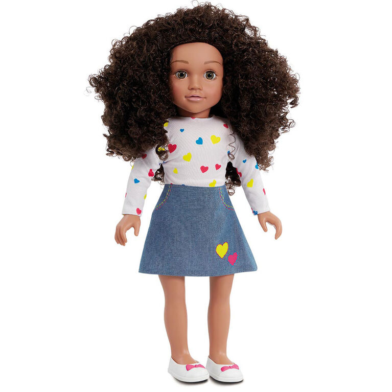 B Friends Pop Heart Top and Denim Skirt Fashion Clothes for 18-inch Doll