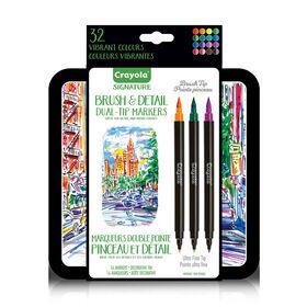 Marqueurs double pointe Pinceau et Détail Signature de Crayola