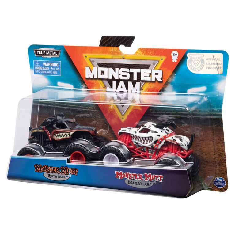 Monster Jam, Coffret de 2 véhicules authentiques Monster Mutt Rottweiler vs Monster Mutt Dalmatian, Monster trucks en métal moulé à l'échelle 1:64.