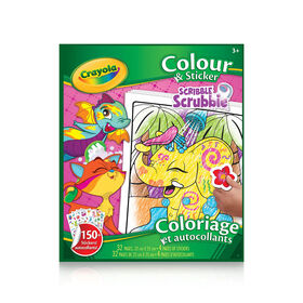 Crayola Colour & Sticker Book Scribble Scrubbie Animals