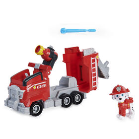 PAW Patrol, Marshall's Deluxe Movie Transforming Fire Truck Toy Car with Collectible Action Figure